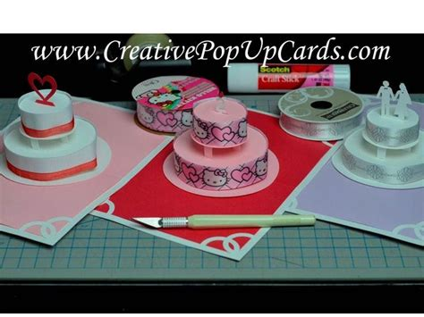 birthday cake card template how to make a birthday cake or wedding cake pop up card