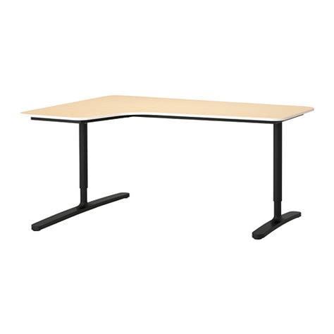 Birch Corner Desk Bekant Corner Desk Left Birch Veneer Black 63x43 1 4 Quot Ikea