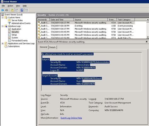windows password reset event id image gallery r2 account