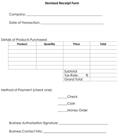 Template For Itemized Receipt For Lasik by Itemized Receipt Template 10 Sles Formats For Word