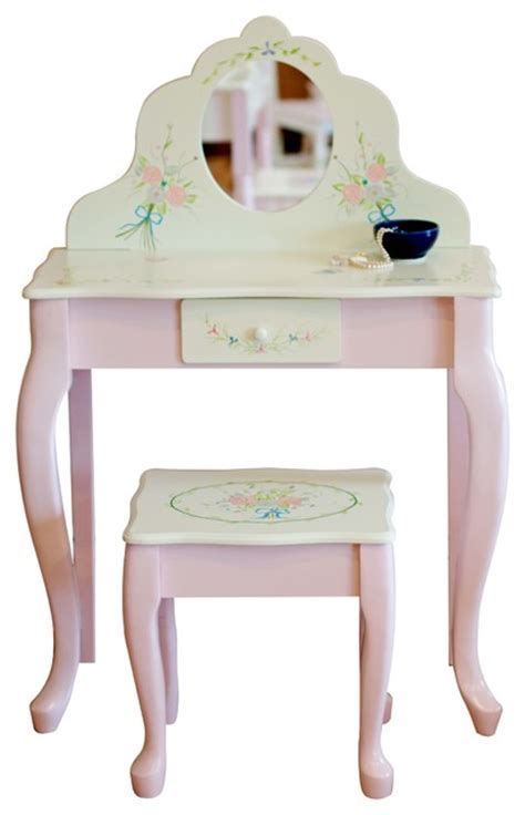 Youth Vanity by Bouquet Crafted Wooden Vanity Table And Stool