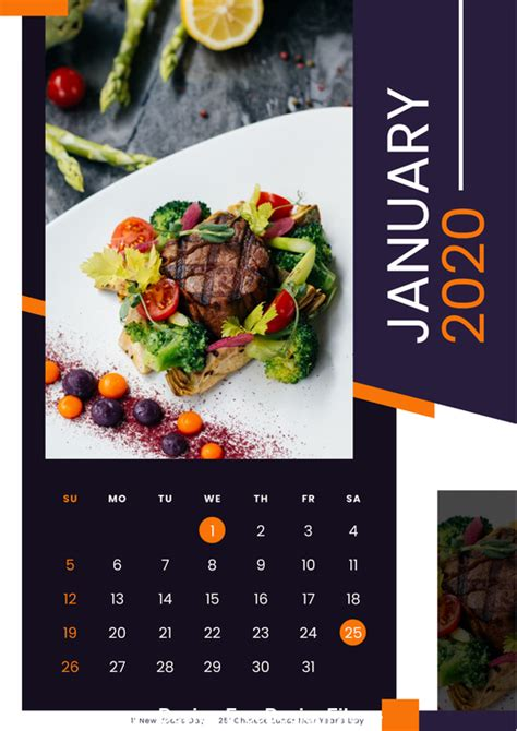 food  calendar vector