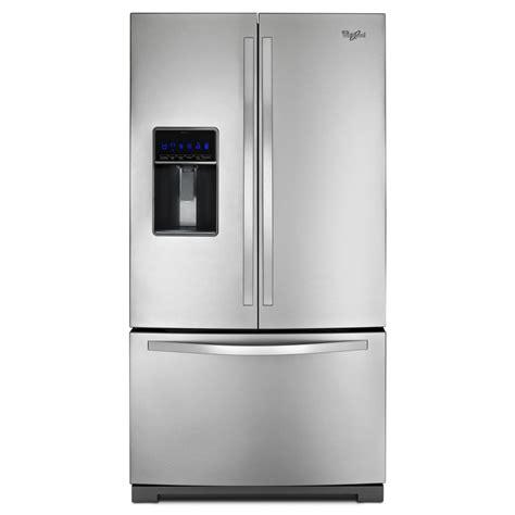 stainless steel door refrigerator shop whirlpool 24 7 cu ft 3 door door refrigerator single maker stainless steel