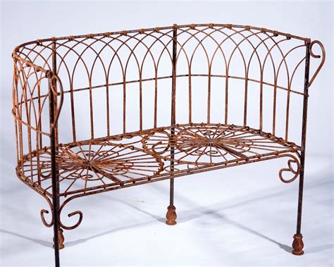 Wrought Iron Settee wrought iron 36 quot woven metal seat settee