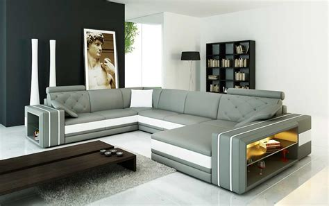 Grey And White Sofa Grey Leather Sectional Sofa With Display Shelves Vg142 Leather Sectionals