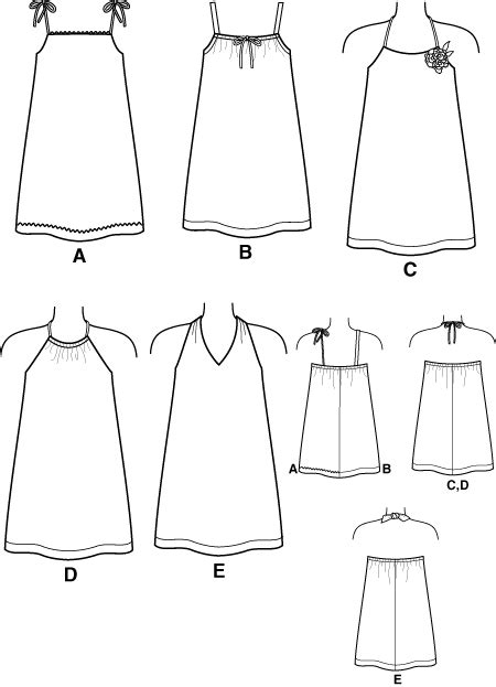 pattern drafting halter top new look 6195 childs sundresses with shoulder straps or