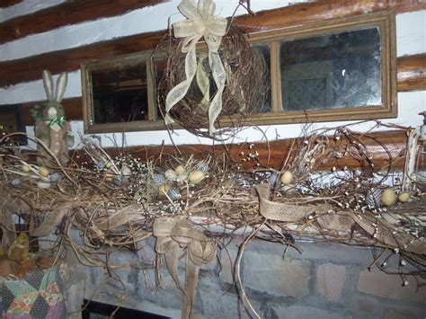 How To Get Bird Out Of Fireplace by Fireplace Mantel With Primitive Eggs Burlap Ribbon And