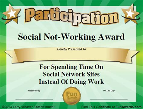 templates for office awards funny office award certificate templates