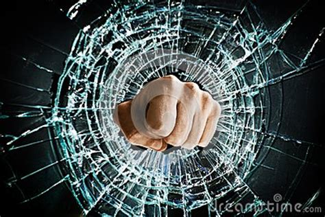 broken window fist royalty  stock  image