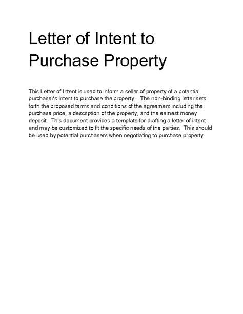 Letter Of Intent Sle To Purchase Business letter of intent to sell property template 28 images