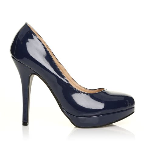 Top Five Navy Heels by Navy Patent Pu Leather Stiletto High Heel Platform
