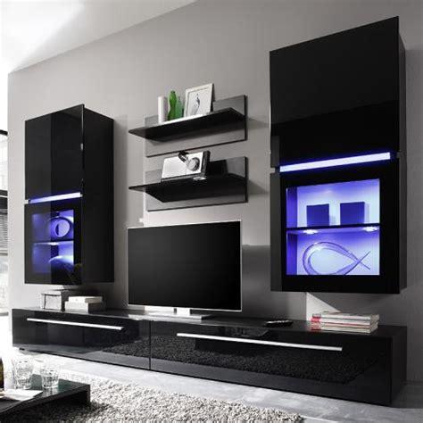 wandschrank tv wohnwand 6 teilig hochglanz schwarz wohnzimmer schrank