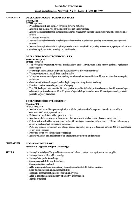 Resume Templates Operating Room operating room technician resume sles velvet