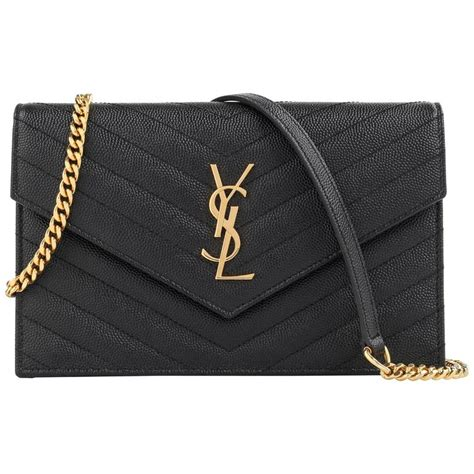 laurent a w 2015 ysl black quot monogram envelope chain wallet quot clutch purse for sale at 1stdibs