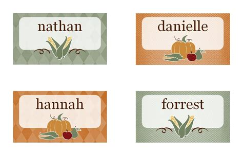 free thanksgiving name card templates thanksgiving place cards thanksgiving place card template