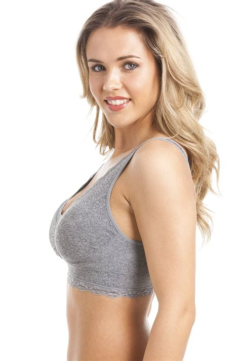 Bra Lace grey non wire lace trim padded comfort bra