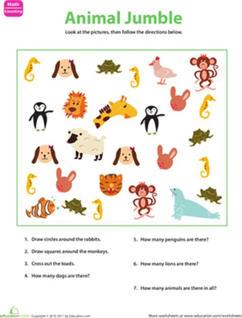 printable animal pictures for sorting sorting animals worksheet education com