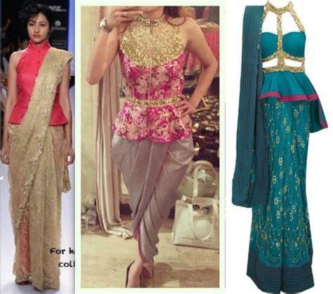 Blouse Peplum Bordir flaunting the saree look with a peplum twist