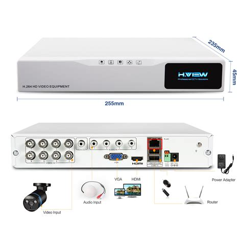 Dvr Ahd 8ch Fourbrid Hd 1080p 2slot Hdd Sata h view 8ch cctv system 1tb hdd 8ch 1080p ahd dvr recorder 8pcs 2 0mp day vision ir