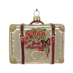 honeymoon suitcase personalized christmas ornament