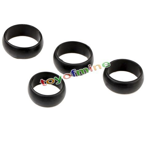 4 x Black Mens Rubber Wedding Ring Silicone Wedding Band
