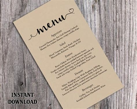 diy menu card template burlap wedding menu template diy menu card template
