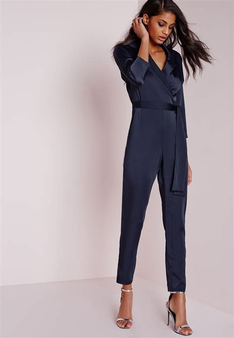 Religi Jumpsuit 2 In 1 Navy missguided silky wrap shirt jumpsuit navy in blue lyst