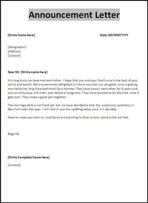 announcement letter samples printable ms word