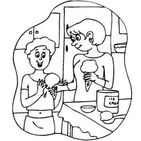 coloring pages of a family eating family eating ice cream coloring page