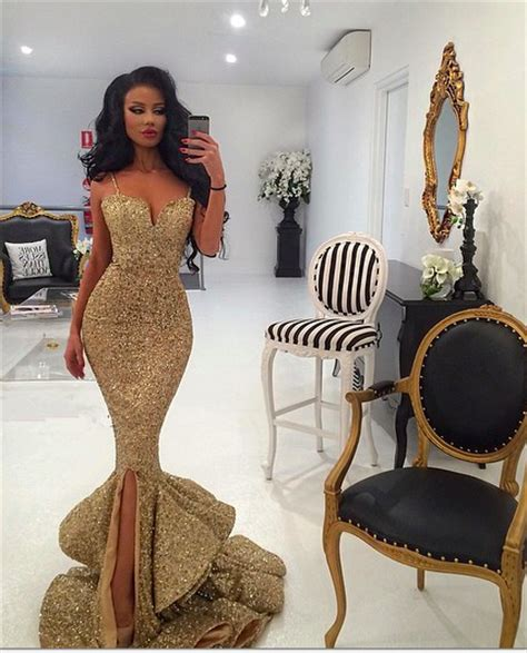 Gold Sequins Mermaid Evening Dress 2018 Sexy Sweetheart Mermaid Prom Dress with Split Prom