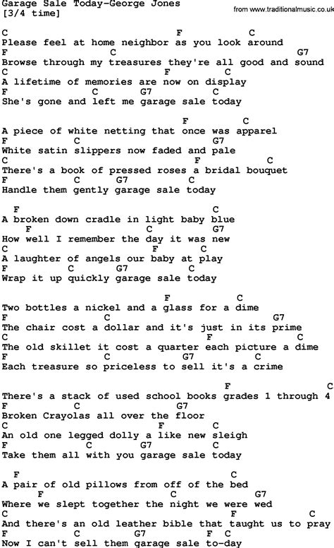 garage lyrics country garage sale today george jones lyrics and chords