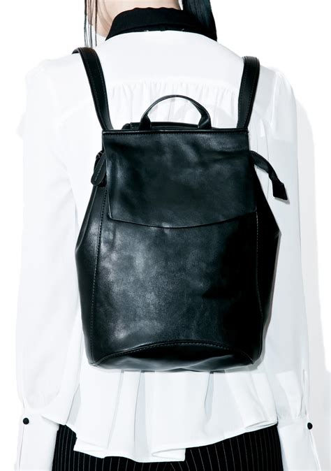Faux Leather Backpack s black faux leather slim backpack dolls kill