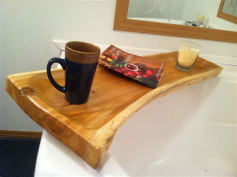 bathtub accessories caddy custom made live edge cedar bath tub caddy by