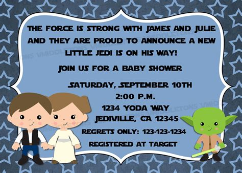 Wars Baby Shower by Jedi Wars Theme Inspired Baby Shower Invitation With