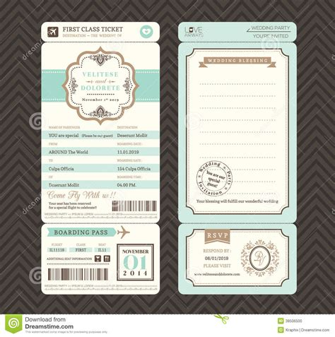 Vintage Style Boarding Pass Ticket Wedding Invitation Template Vector Fancy Ticket Style Fancy Ticket Template