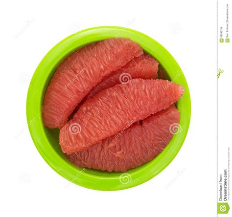 grapefruit sections red grapefruit sections in a green bowl top view stock