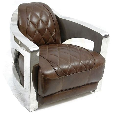 club chair vintage brown leather stainless steel