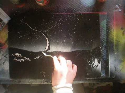 spray paint black and white tutorial spray painting a space pallette knife tutorial