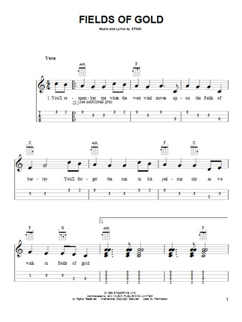 House Of Gold Guitar Chords by Fields Of Gold Sheet Direct