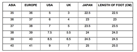 asian shoe size asian size chart to us shoes china and us shoe size