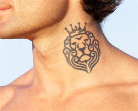 lion with a crown tattoo 57 adorable crown neck tattoos