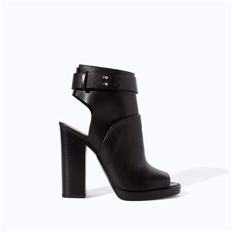 zara leather high heel peep toe ankle boot in black lyst