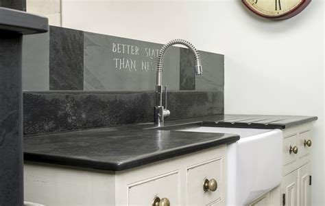Retro Kitchen Worktops by Slate Sink Surrounds And Grooved Draining Boards