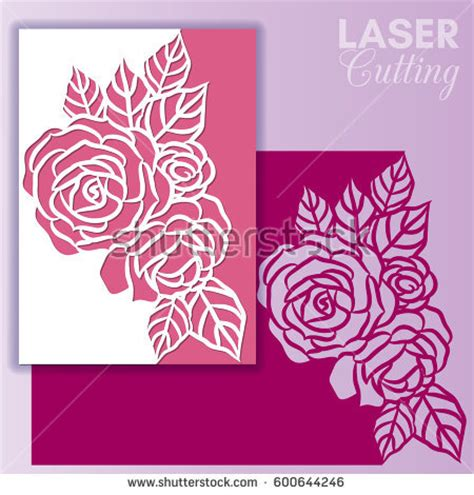 flower cutout card template vector die laser cut envelope template stock vector