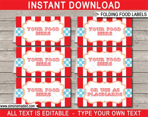 circus tent card template circus food labels place cards carnival