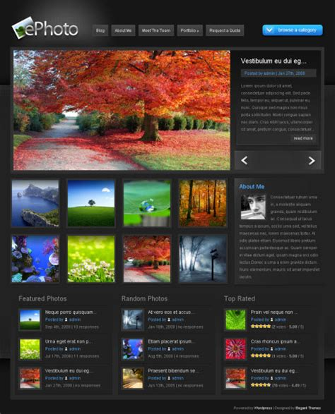 themes and photo ephoto premium wordpress theme elegant themes