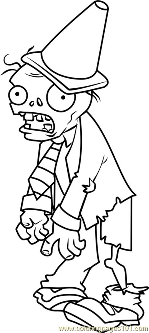 conehead zombie coloring page free plants vs zombies