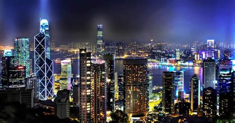 hong kong skyline  night magical nights pinterest