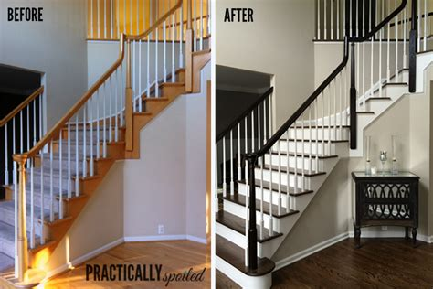 how to refinish stair banister how to gel stain ugly oak banisters