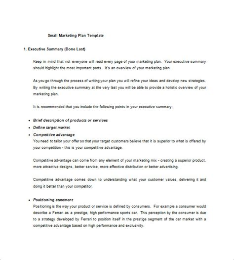 business marketing plan template small business marketing plan template 13 free sle